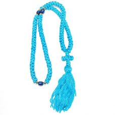 100 KNOT KOMBOSKINI PRAYER ROPE CROSS - Light Blue