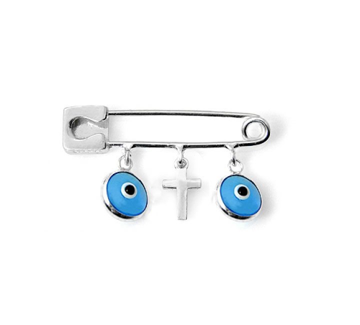 baby evil eye and cross pin