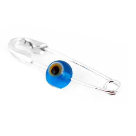 silver baby evil eye pin