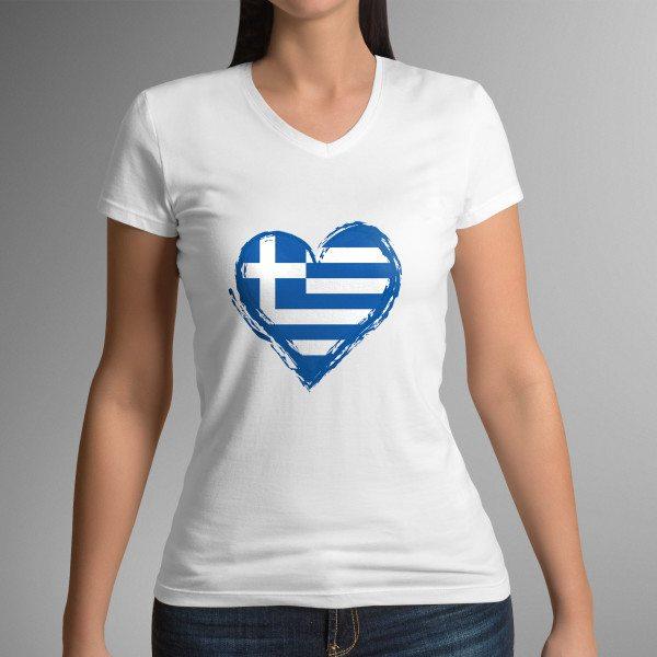 WOMAN'S GREEK FLAG KISS T-SHIRT