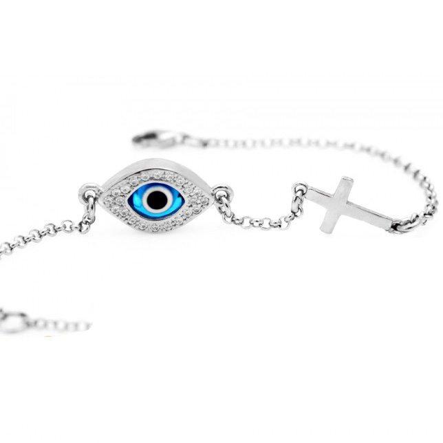 Celebrity Evil Eye Bracelet With Cross