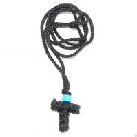 Handmade Orthodox Komboskini Cross Necklace - Black