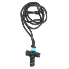 Handmade Orthodox Komboskini Cross Necklace - Black