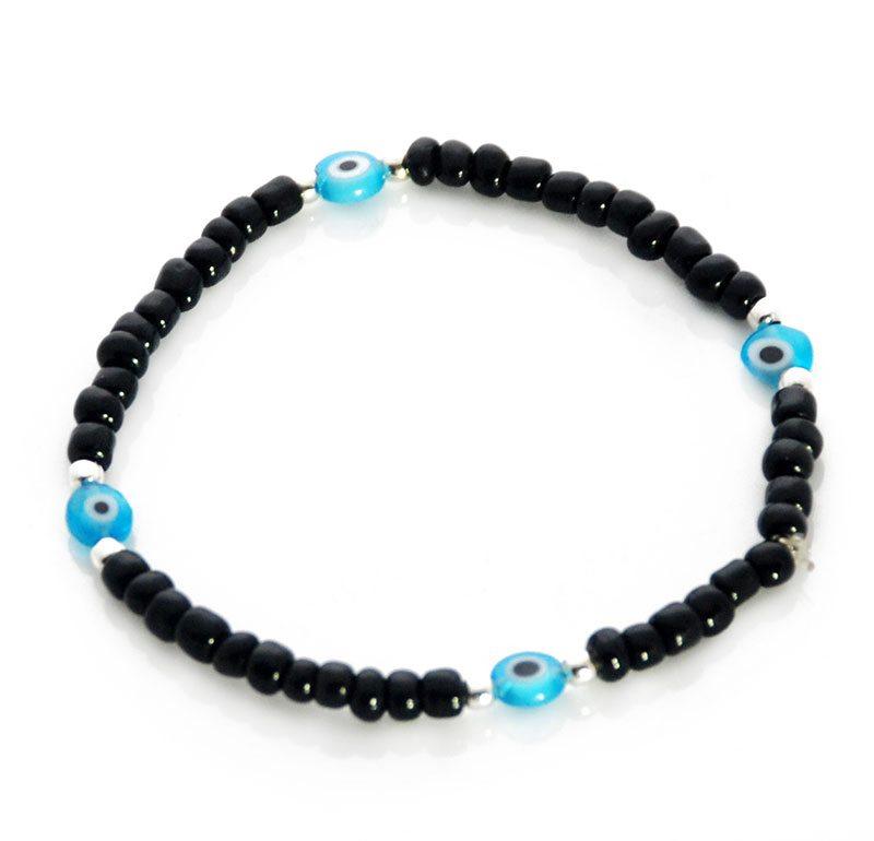 Black Seed Bead Evil Eye Bracelet