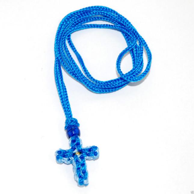Handmade Orthodox Komboskini Cross Necklace - Blue