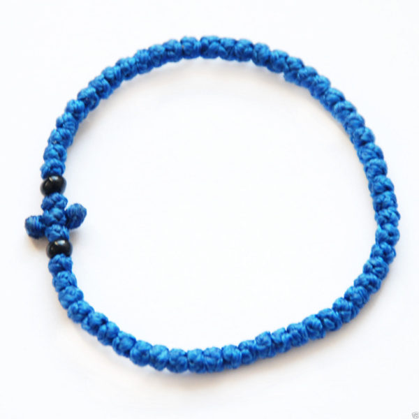 33 Knot Hand Made Orthodox Thin Komboskini Bracelet Blue