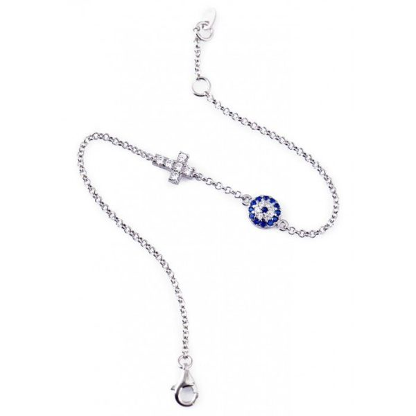 Evil Eye Bracelet with CZ Cross