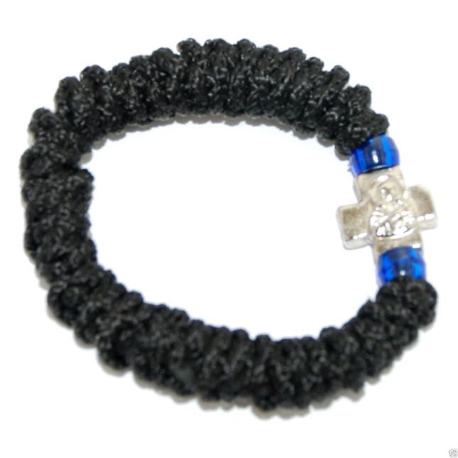 Hand Made Orthodox Stretch Komboskini Bracelet with Cross
