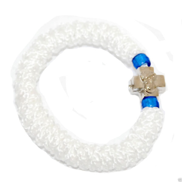Hand Made Stretch Komboskini Bracelet with Cross White