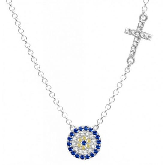 Side Cross Evil Eye Charm Necklace