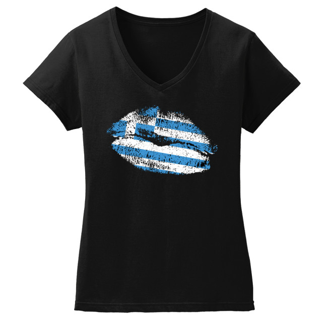 WOMAN'S GREEK FLAG KISS T-SHIRT