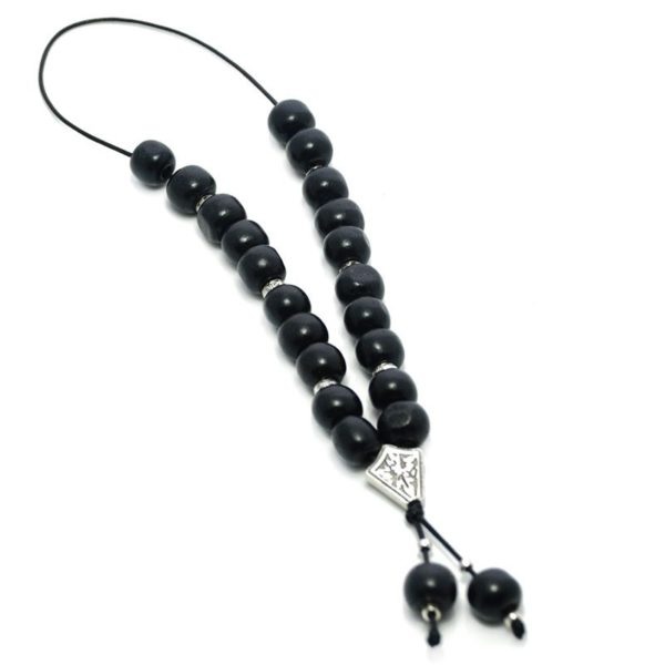 Wooden Komboloi Worry Beads - Black