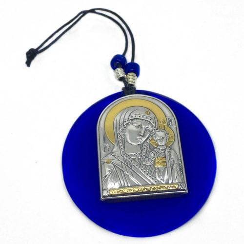 Blue-Glass-Virgin-Mary-and-Jesus-Silver-Icon
