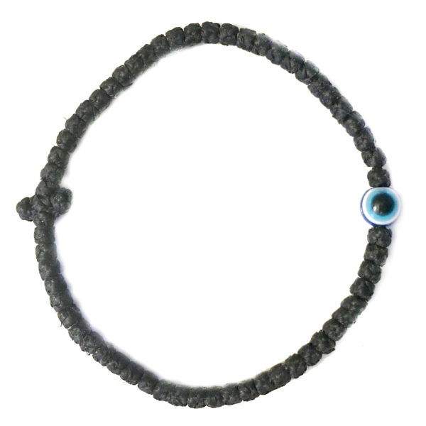 Thin Waxed Komboskini Bracelet with Evil Eye (Mati)