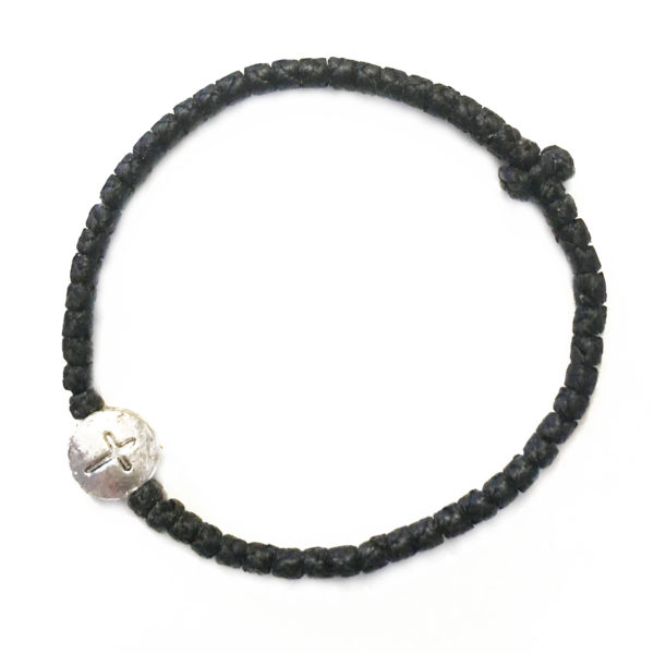 Thin Komboskini Bracelet with Round Metallic Cross