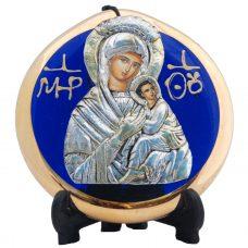 Virgin Mary / Panagia Metallic Icon on Blue / Gold Glass