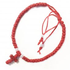 Red Adjustable Thin Komboskini Bracelet with Cross