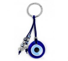 Evil Eye Keychain with Glass Blue Evil Eye