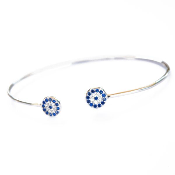Sterling Silver Evil Eye Bangle Bracelet