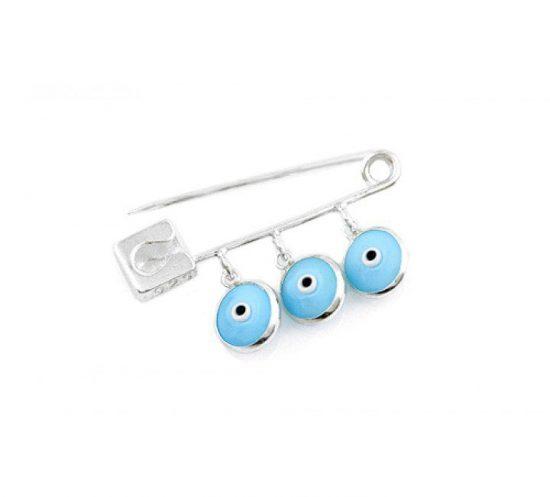 Baby Light Blue Evil Eye Mati Protection Pin