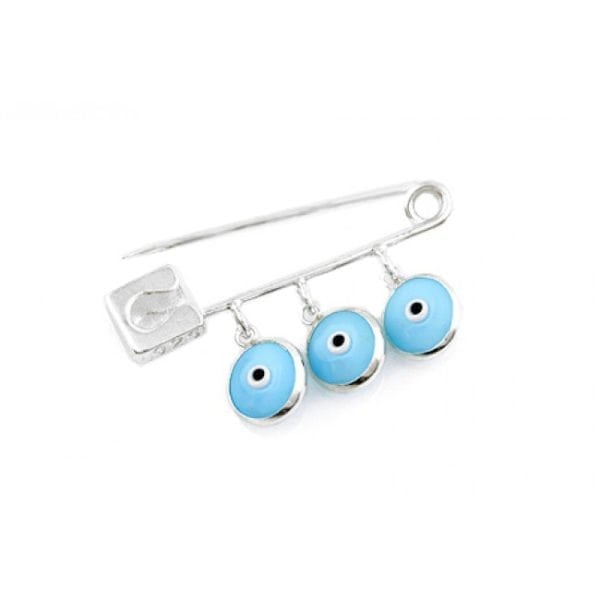 Baby Light Blue Evil Eye Mati Protection Pin