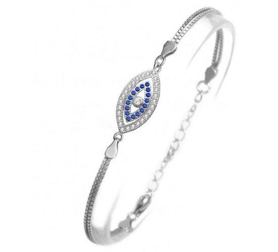 CZ Stone Mati Evil Eye Silver Bracelet