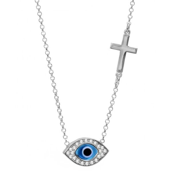 Celebrity Evil Eye Mati and Cross Necklace