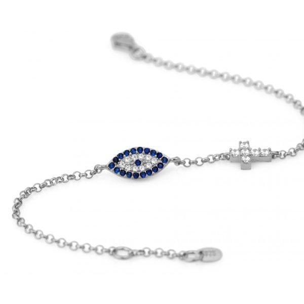 Evil Eye Mati and Cross Bracelet