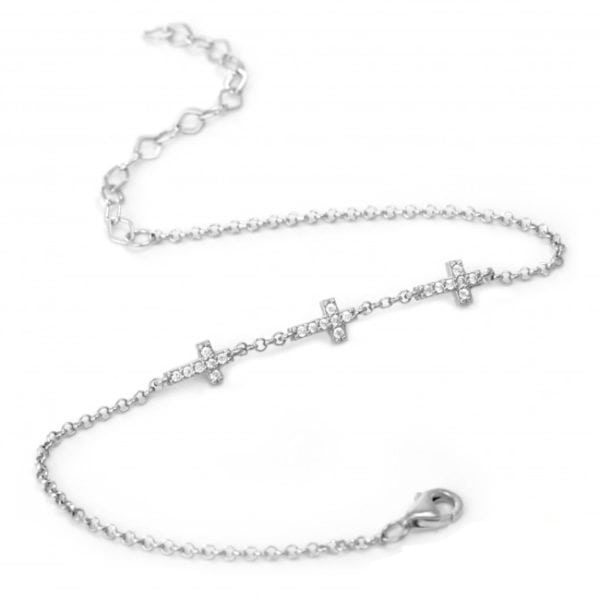 Mini Cross Charm Silver Bracelet