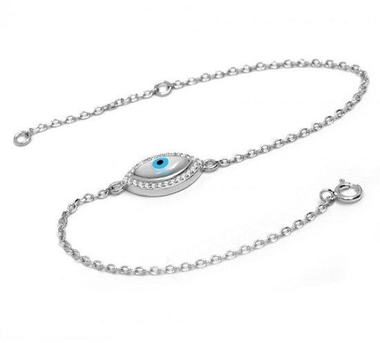 Mother of Peal Greek Evil Eye Silver Bracelet