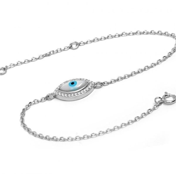 Mother of Peal Greek Evil Eye Silver Bracelet