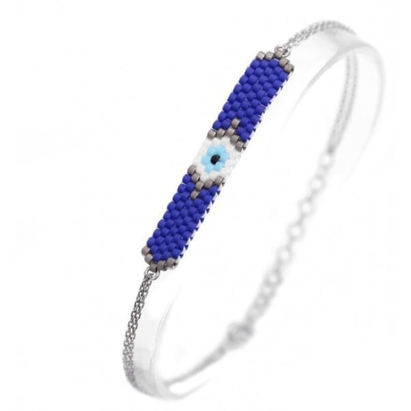 Silver Evil Eye Seed Bead Bracelet - Dark Blue