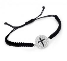 Braided Cord Silver Cross Bracelet