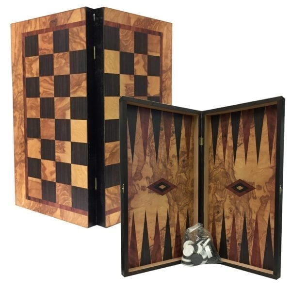 Wooden Swirl Tavli Chess Set