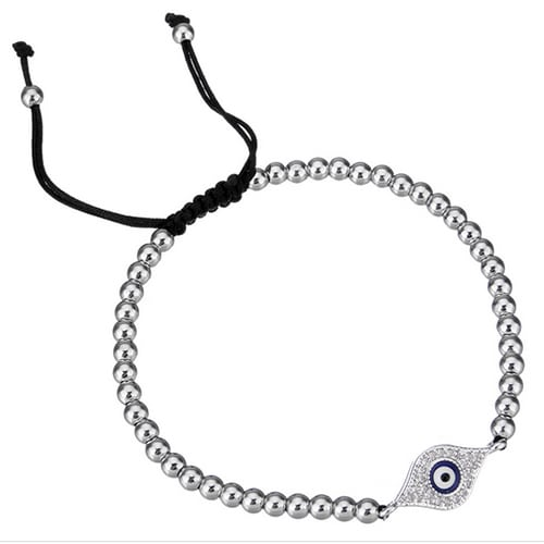 Evil Eye Woven Ball Bracelet_Silver