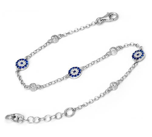 CZ Stone Multi Evil Eye Silver Bracelet