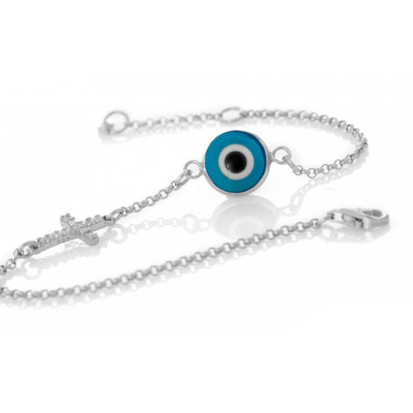 Greek Blue Evil Eye Cross Bracelet