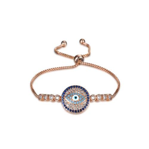 Rose Gold Plated Zircon Evil Eye Bracelet