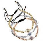 Woven and bead evil eye bracelet