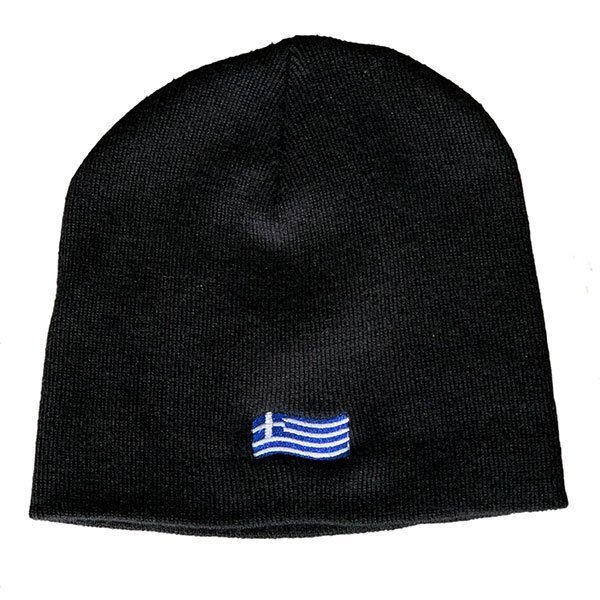 Greek-Flag-Knit-Hat-Black