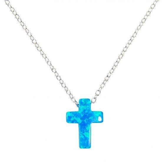 tiny blue opal cross necklace